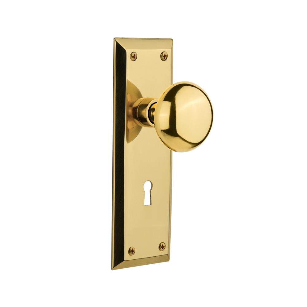Nostalgic Warehouse NYKNYK Single Dummy New York Plate with New York Knob and Keyhole in Polished Brass