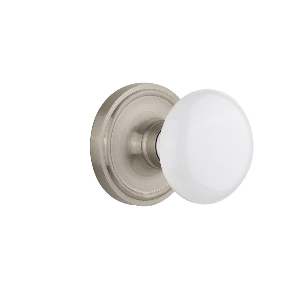 Nostalgic Warehouse CLAWHI Single Dummy Classic Rosette with White Porcelain Knob in Satin Nickel