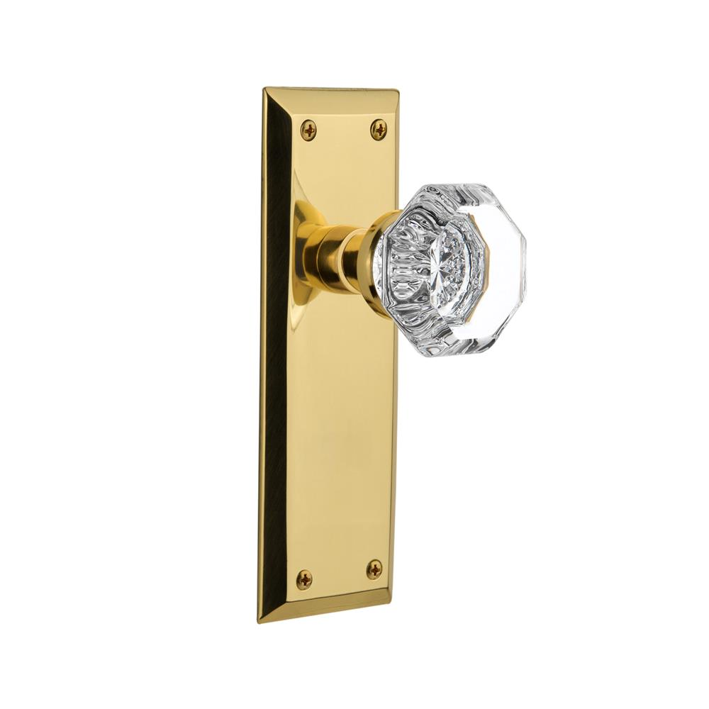 Nostalgic Warehouse NYKWAL Single Dummy Knob New York Plate with Waldorf Knob in Unlacquered Brass