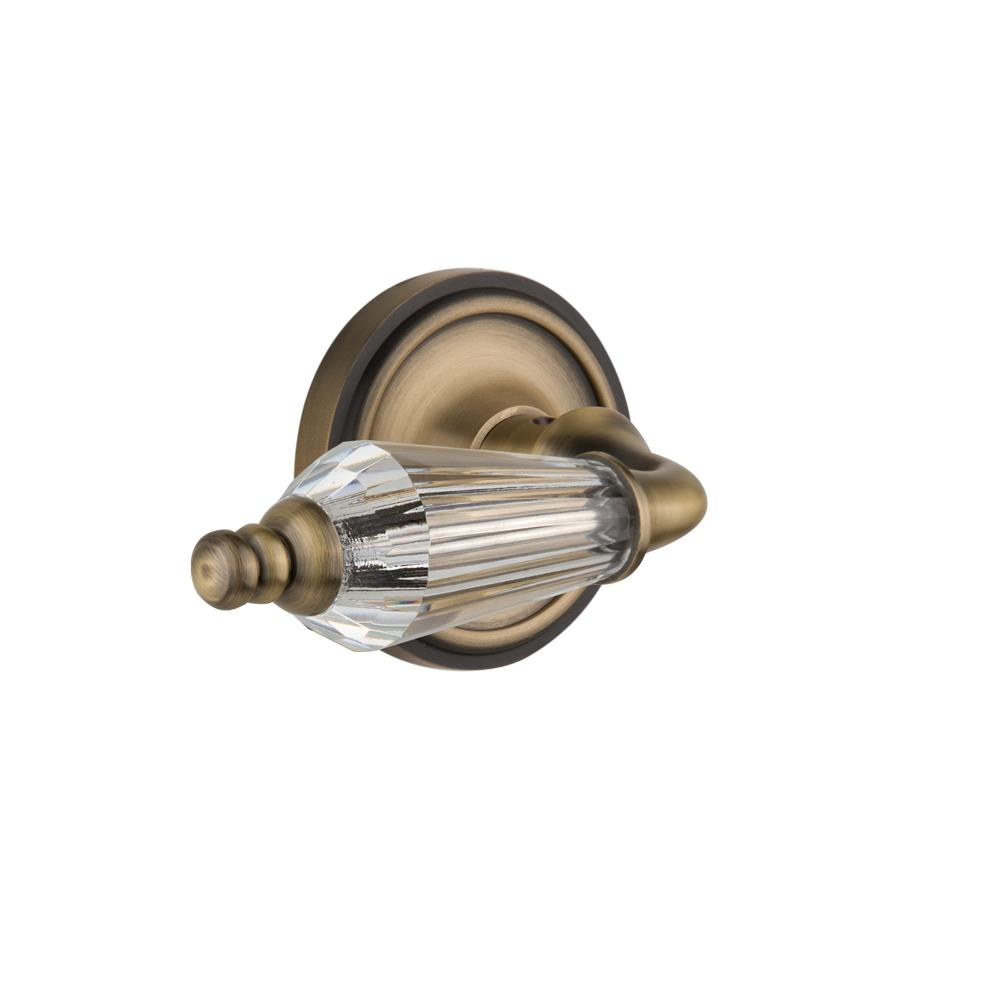 Nostalgic Warehouse CLAPRL Single Dummy Knob Without Keyhole Classic RoKnobte with Parlour Lever in Antique Brass