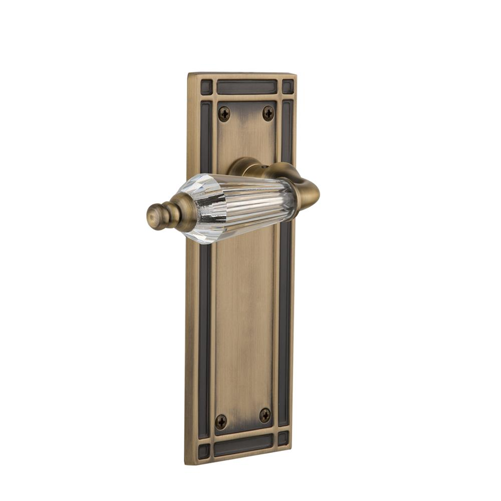 Nostalgic Warehouse MISPRL Single Dummy Knob Without Keyhole Mission Plate with Parlour Lever in Antique Brass