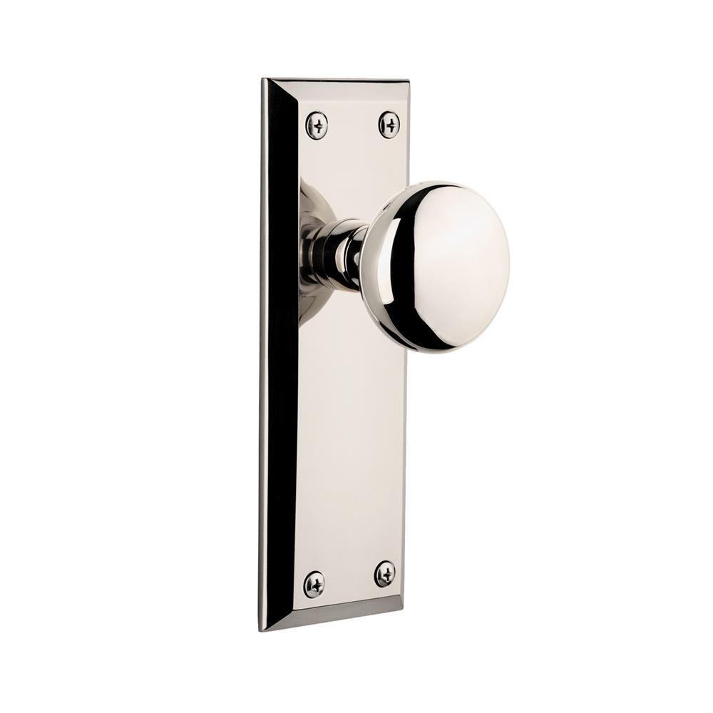 Grandeur by Nostalgic Warehouse FAVFAV Single Dummy Knob Without Keyhole - Fifth Avenue Plate with Fifth Avenue Knob in Polished Nickel