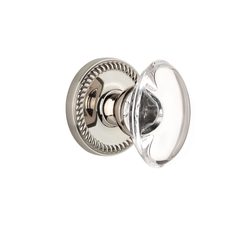 Grandeur by Nostalgic Warehouse NEWPRO Single Dummy Knob Without Keyhole - Newport Rosette with Provence Knob in Polished Nickel