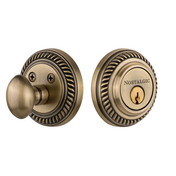 Nostalgic Warehouse ROP Single Cylinder Deadbolt Keyed Differently Rope in Antique Brass