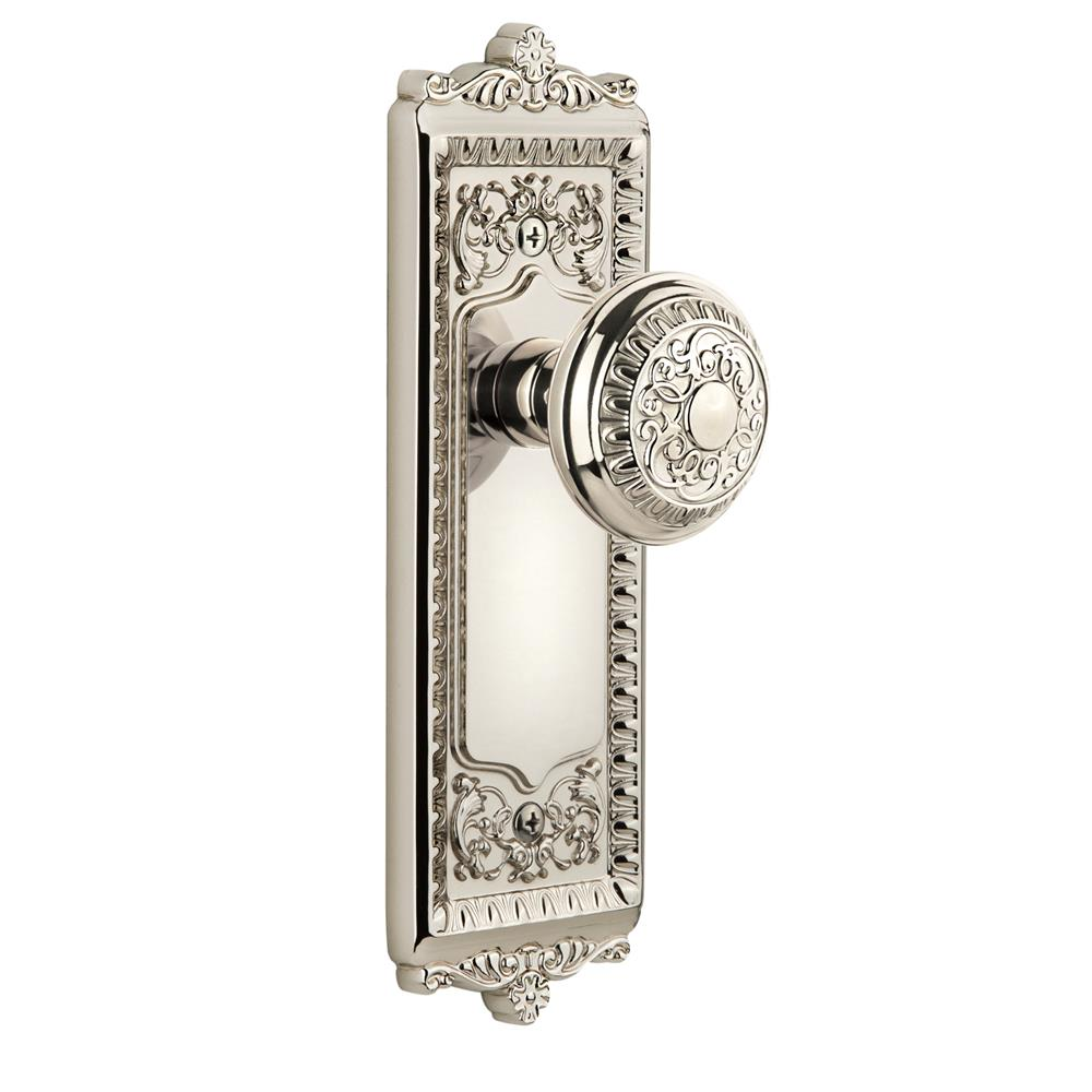 Grandeur by Nostalgic Warehouse WINWIN Single Dummy Knob Without Keyhole - Windsor Plate with Windsor Knob in Polished Nickel