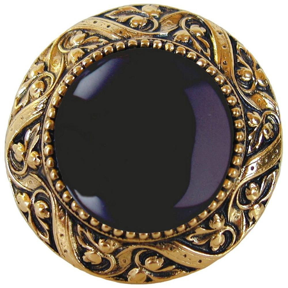 Notting Hill NHK-124-BB-O Victorian Jewel Knob Brite Brass/Onyx natural stone