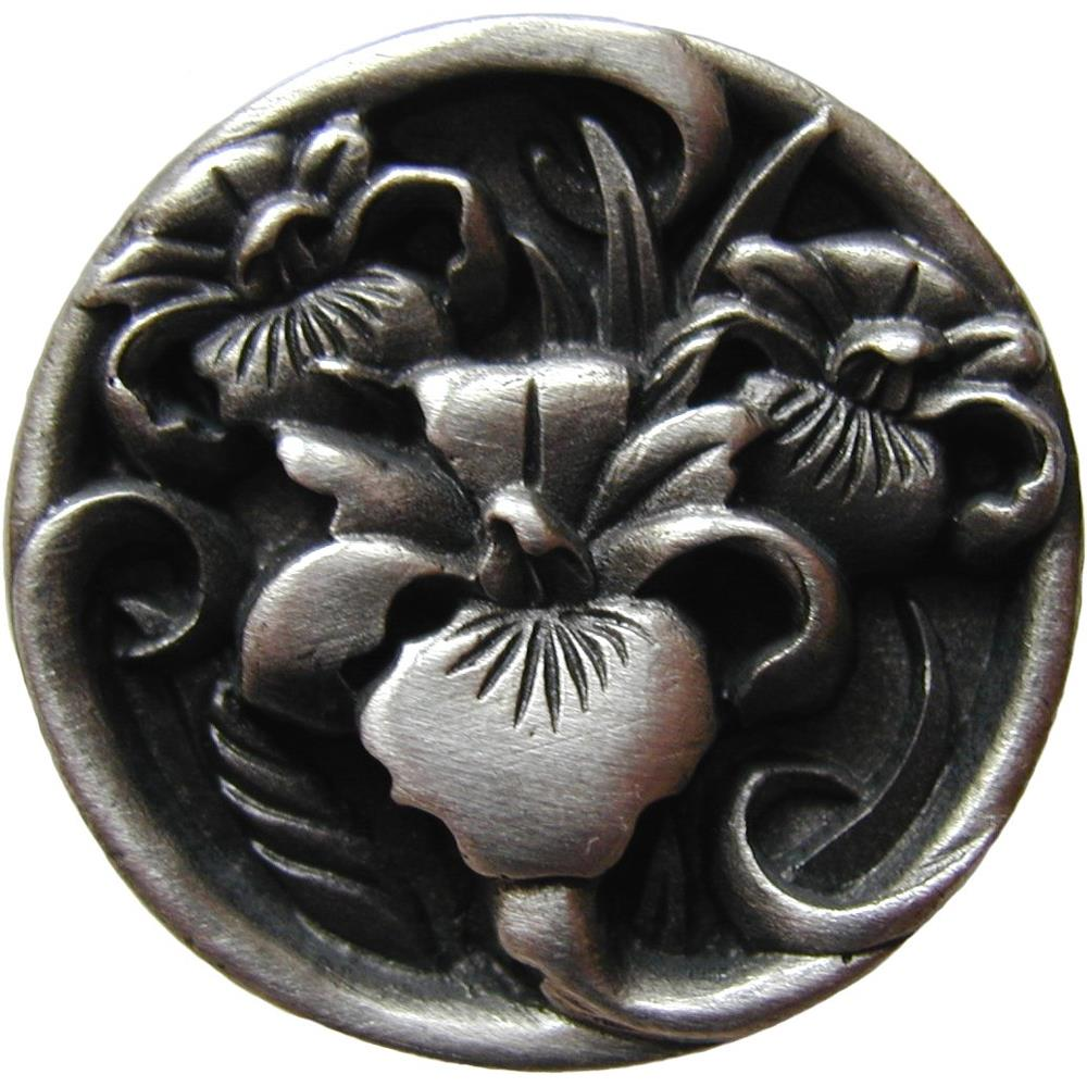 Notting Hill NHK-128-AP River Irises Knob Antique Pewter