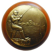 Notting Hill NHW-707C-AB Catch of the Day Wood Knob in Antique Brass /Cherry wood finish