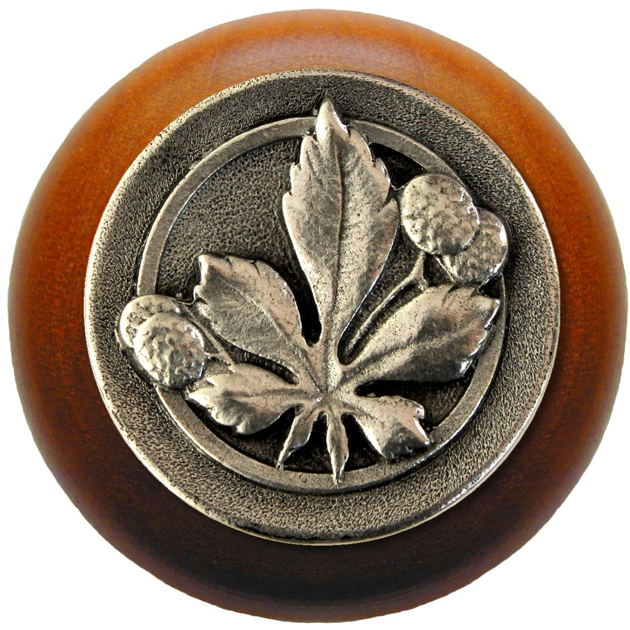 Notting Hill NHW-743C-BP Horse Chestnut Wood Knob in Brilliant Pewter/Cherry wood finish