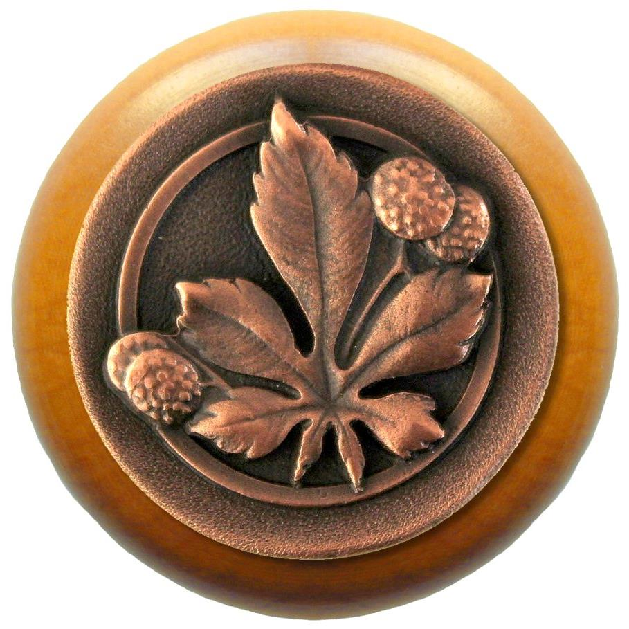 Notting Hill NHW-743M-AC Horse Chestnut Wood Knob in Antique Copper/Maple wood finish