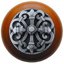 Notting Hill NHW-776C-AP Chateau Wood Knob in Antique Pewter/Cherry wood finish