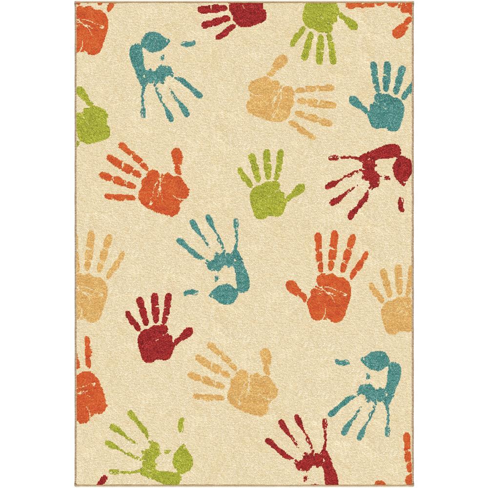 Orian Rugs 3111 4x6  Kids Kids Handprints Beige  Area Rug (3