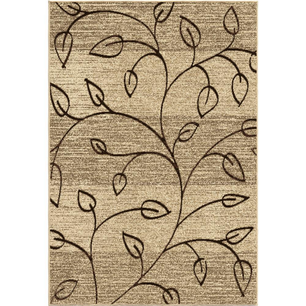 Orian Rugs 1802 2x8  Indoor/Outdoor Leaves Kingwood  Beige Runner (2