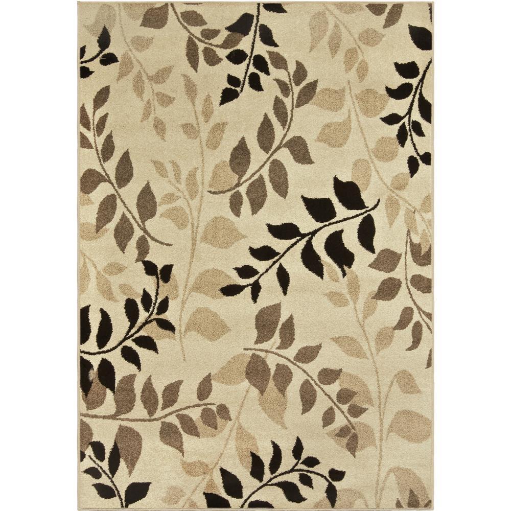 Orian Rugs 1804 2x8  Indoor/Outdoor Leaves Olive Grove Beige Runner (2