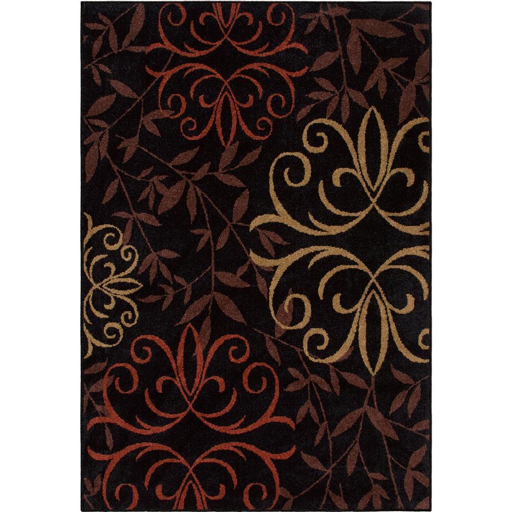Orian Rugs 1819 2x8  Indoor/Outdoor Medallion Josselin Black Area Rug (2
