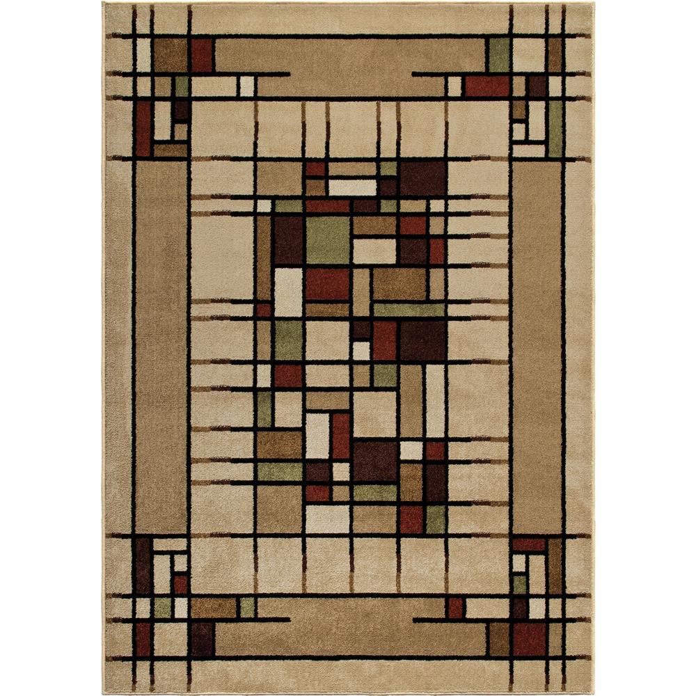 Orian Rugs 1826 2x8  Indoor/Outdoor Blocks Eldridge Beige Area Rug (2
