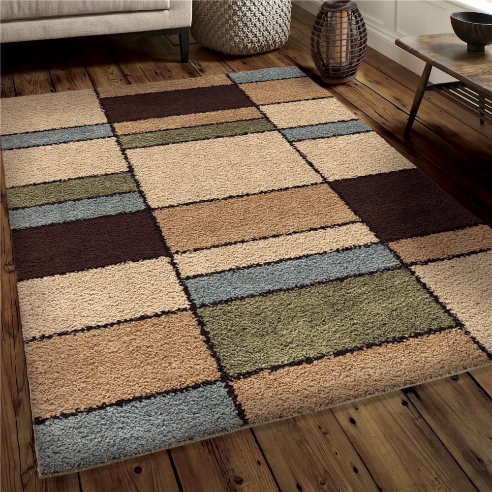 Orian Rugs 3720 5x8  Plush Squares Hartlepool Multi Area Rug (5