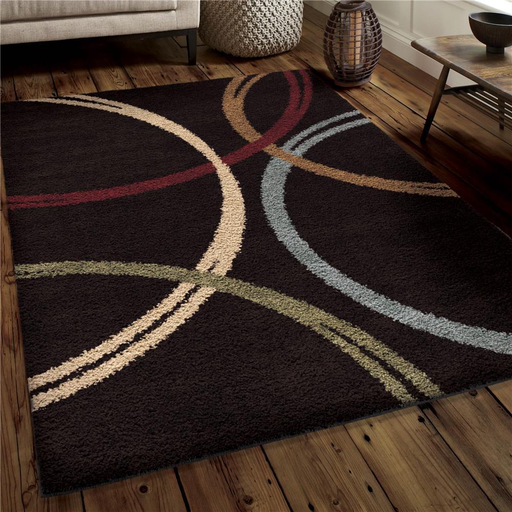 Orian Rugs 3721 5x8  Plush Rings Woodford Black Area Rug (5