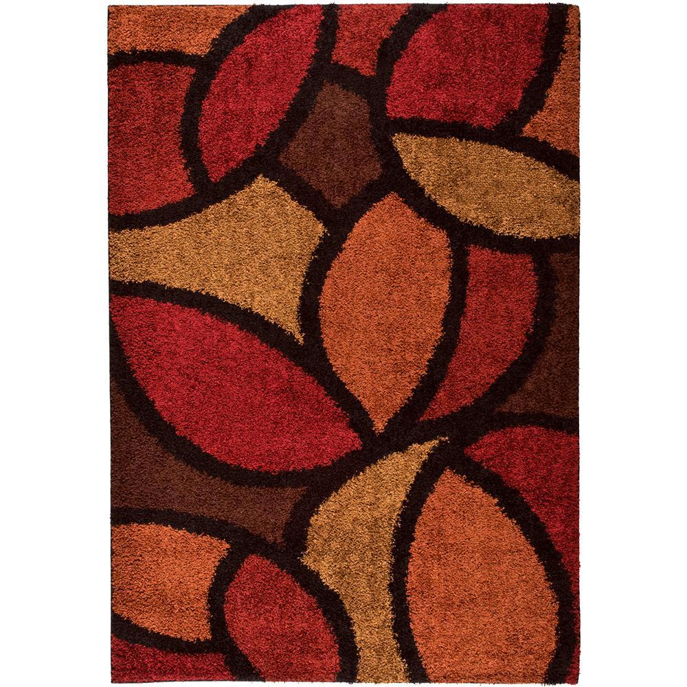 Orian Rugs 1714 5x8  Shag Geometric Bloom Petal Red Area Rug (5