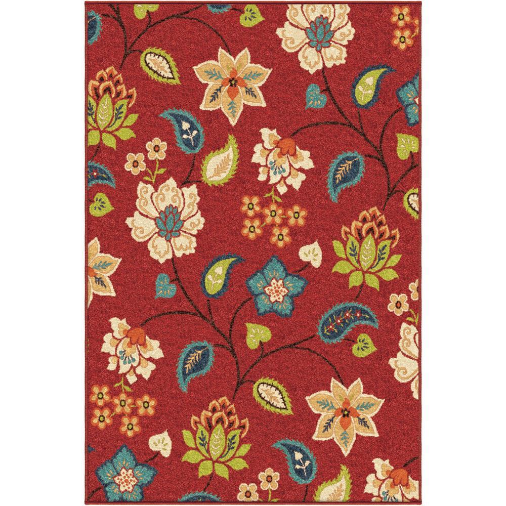 Orian Rugs 2313 2x8  Indoor/Outdoor Floral Garden Chintz Red Runner (2