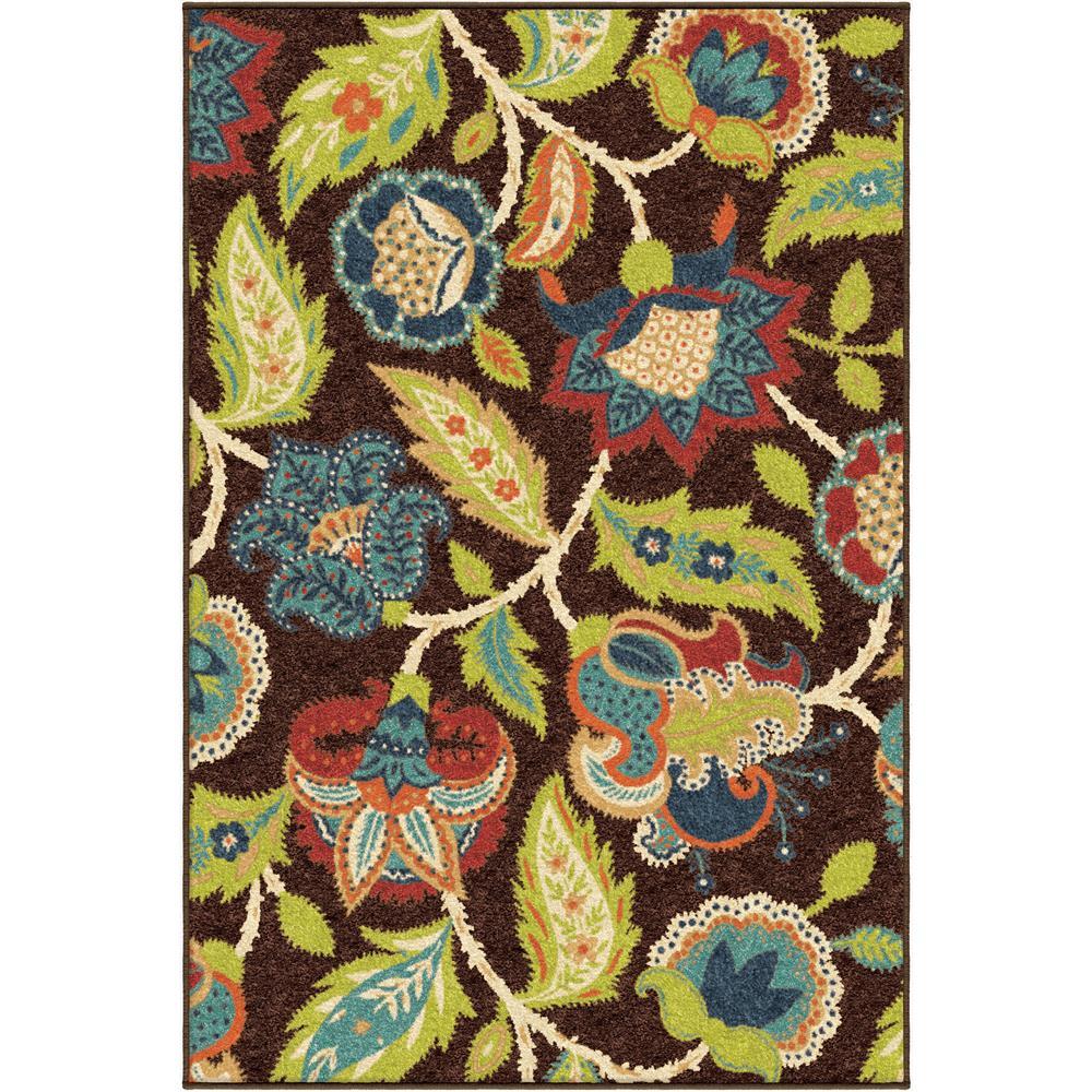 Orian Rugs 2314 2x8  Indoor/Outdoor Floral Ethridge Brown Runner (2