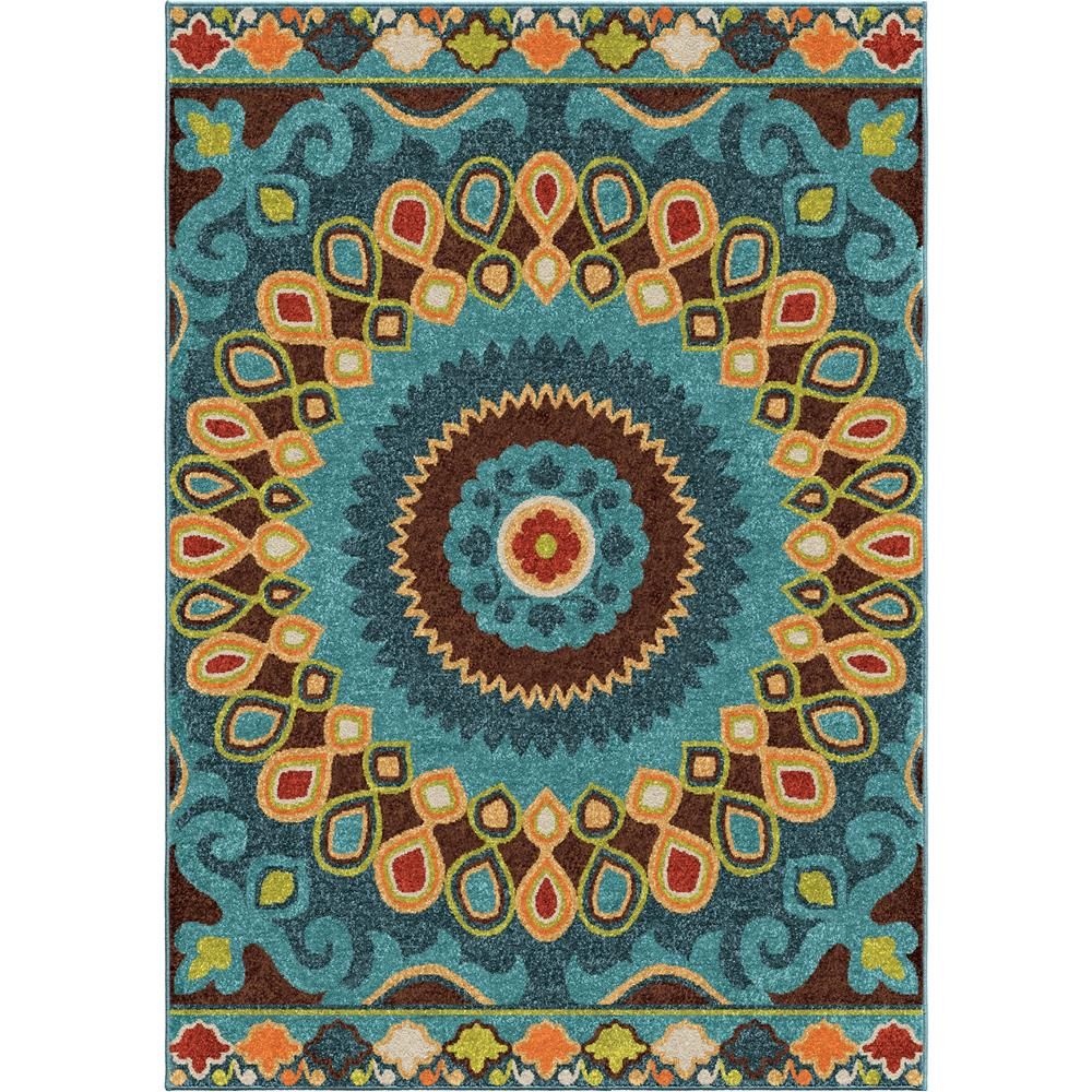 Orian Rugs 2352 5x8  Indoor/Outdoor Shapes Indo-China Multi Area Rug (5