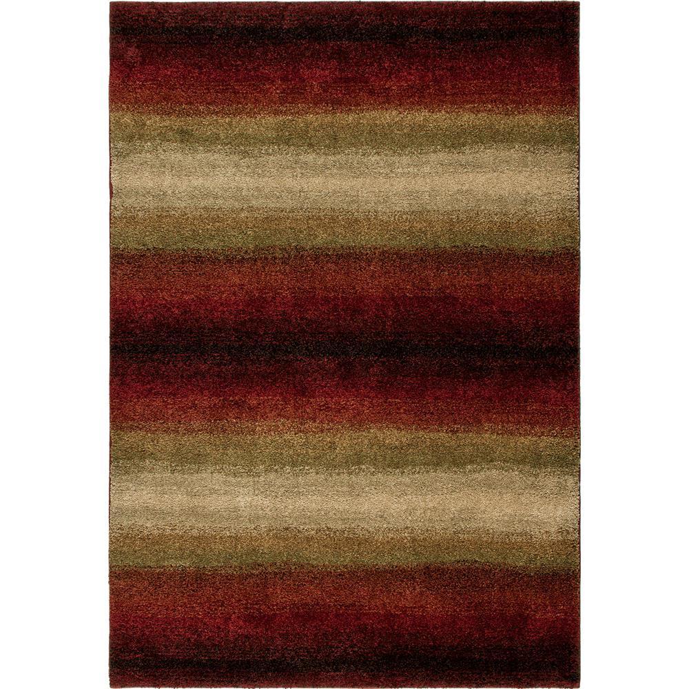 Orian Rugs 1623 2x8  Plush Stripes Skyline Red Runner (2