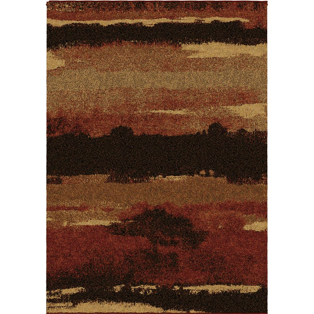 Orian Rugs 1667 5x8  Plush Stripes Canyon Red Area Rug (5