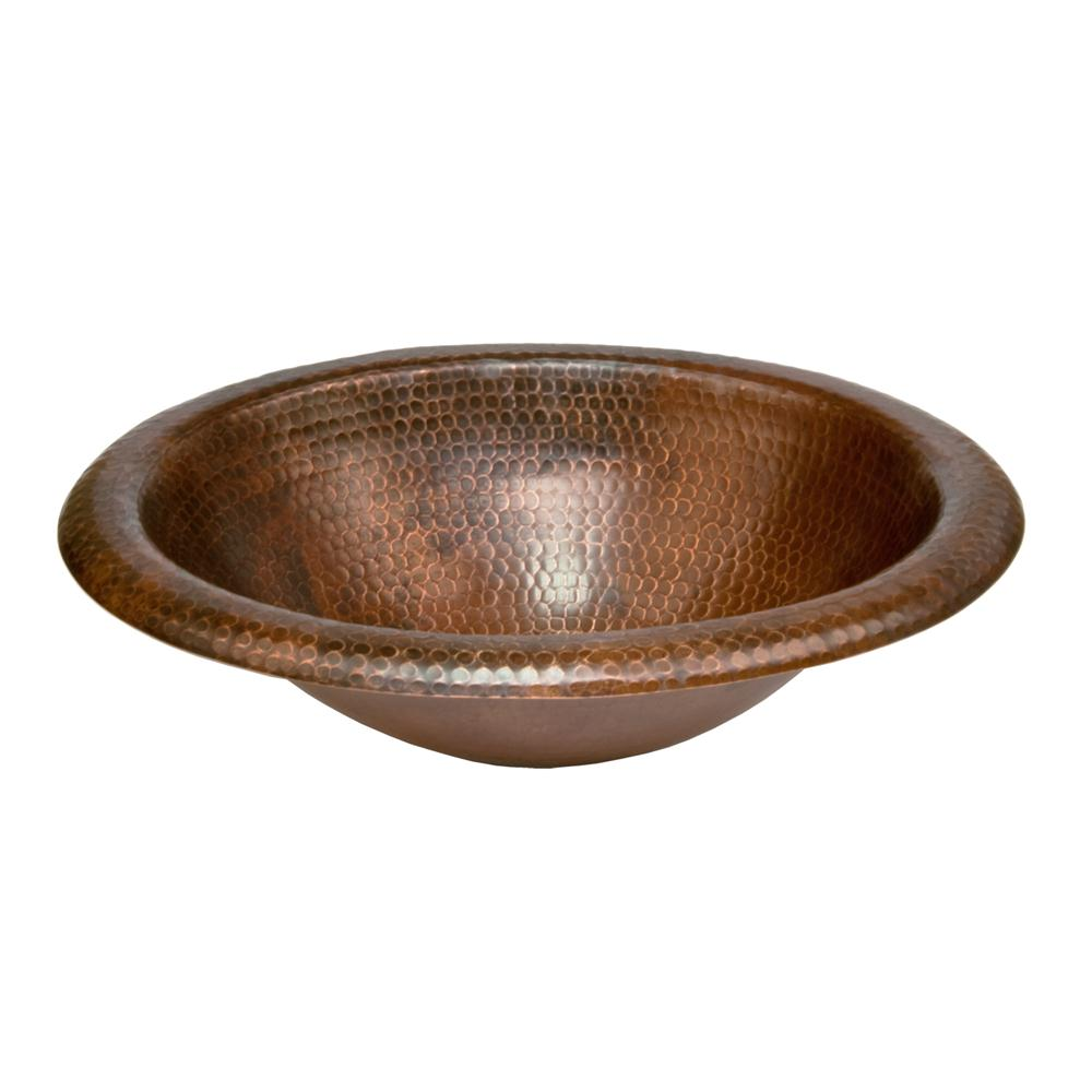 Premier Copper LO18RDB Wide Rim Oval Self Rimming Hammered Copper Sink