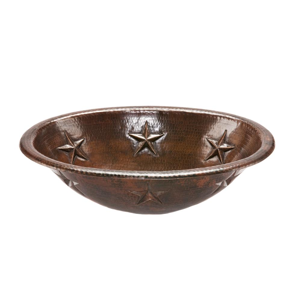 Premier Copper LO19RSTDB Oval Star Self Rimming Hammered Copper Sink