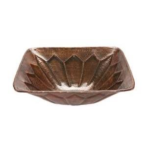 Premier Copper VS16FDB Square Feathered Vessel Hammered Copper Sink