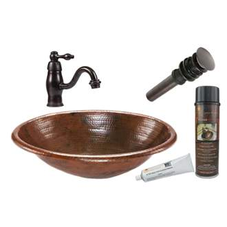 Premier Copper Products BSP3_LO19RDB Oval Self Rimming Hammered Copper Sink with ORB Single Handle Faucet, Matching Drain and Accessories