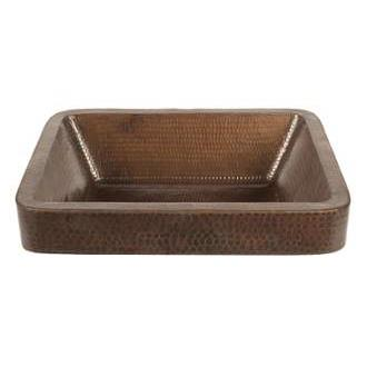 "Premier Copper Products VREC17SKDB 17"" Rectangle Skirted Vessel Hammered Copper Sink"