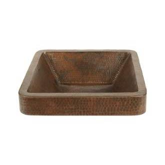Premier Copper Products VSQ15SKDB Square Skirted Vessel Hammered Copper Sink