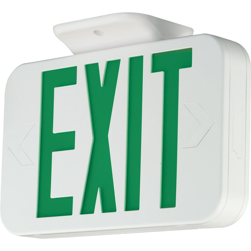 Progress Lighting PE009-30 Exit Signs Led Exit Sign With Green Letters. in White