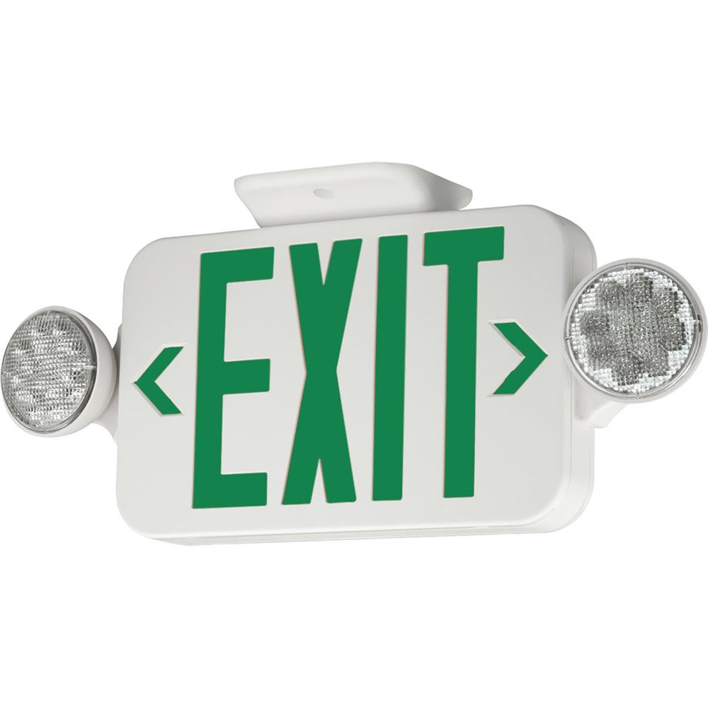 Progress Lighting PE011-30 Exit Signs Led Exit Sign With Green Letters. in White
