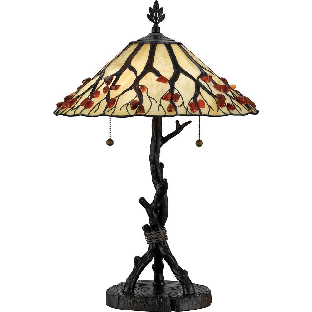 Quoizel Lighting AG711TVA Whispering Wood Table Lamp in Valiant Bronze