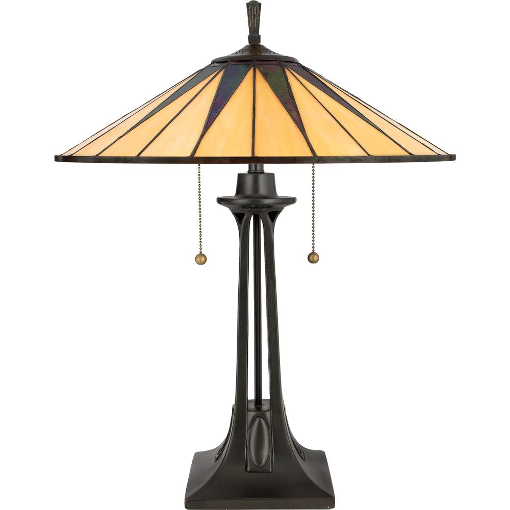 Quoizel Lighting TF6668VB Gotham Tiffany Table Lamp in Vintage Bronze