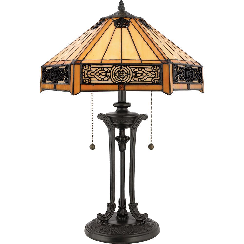 quoizel lighting tf6669vb indus tiffany table lamp in vintage bronze. Black Bedroom Furniture Sets. Home Design Ideas