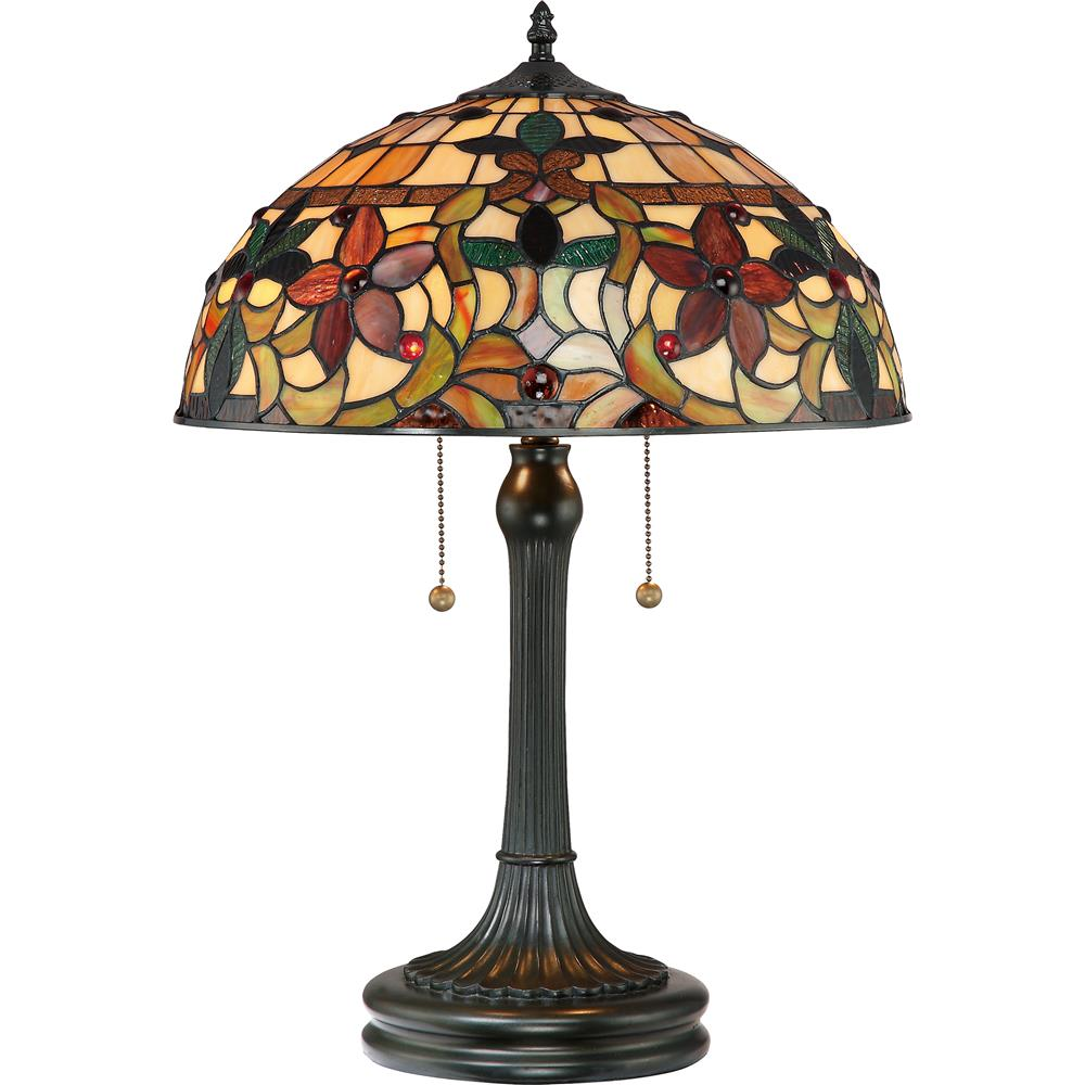 Quoizel Lighting TF878T Kami Tiffany Table Lamp in Vintage Bronze