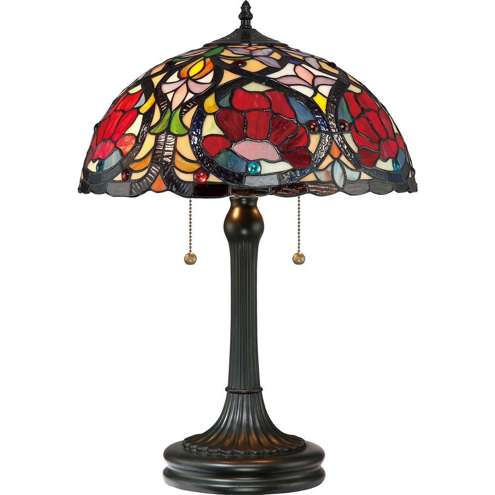 Quoizel Lighting TF879T Larissa Tiffany Table Lamp in Vintage Bronze