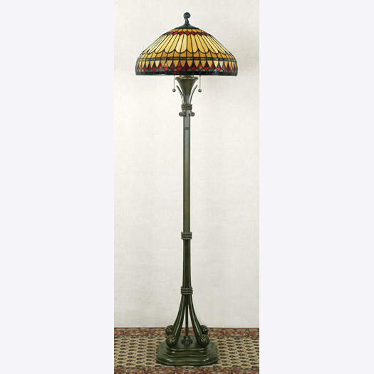 Quoizel Lighting TF9320BB West End Tiffany Floor Lamp in Brushed Bullion