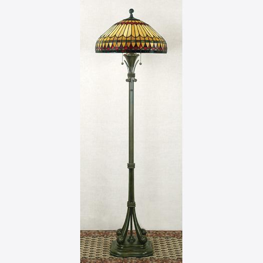 Quoizel Lighting TF9320BB West End Tiffany Floor Lamp in Brushed Bullion