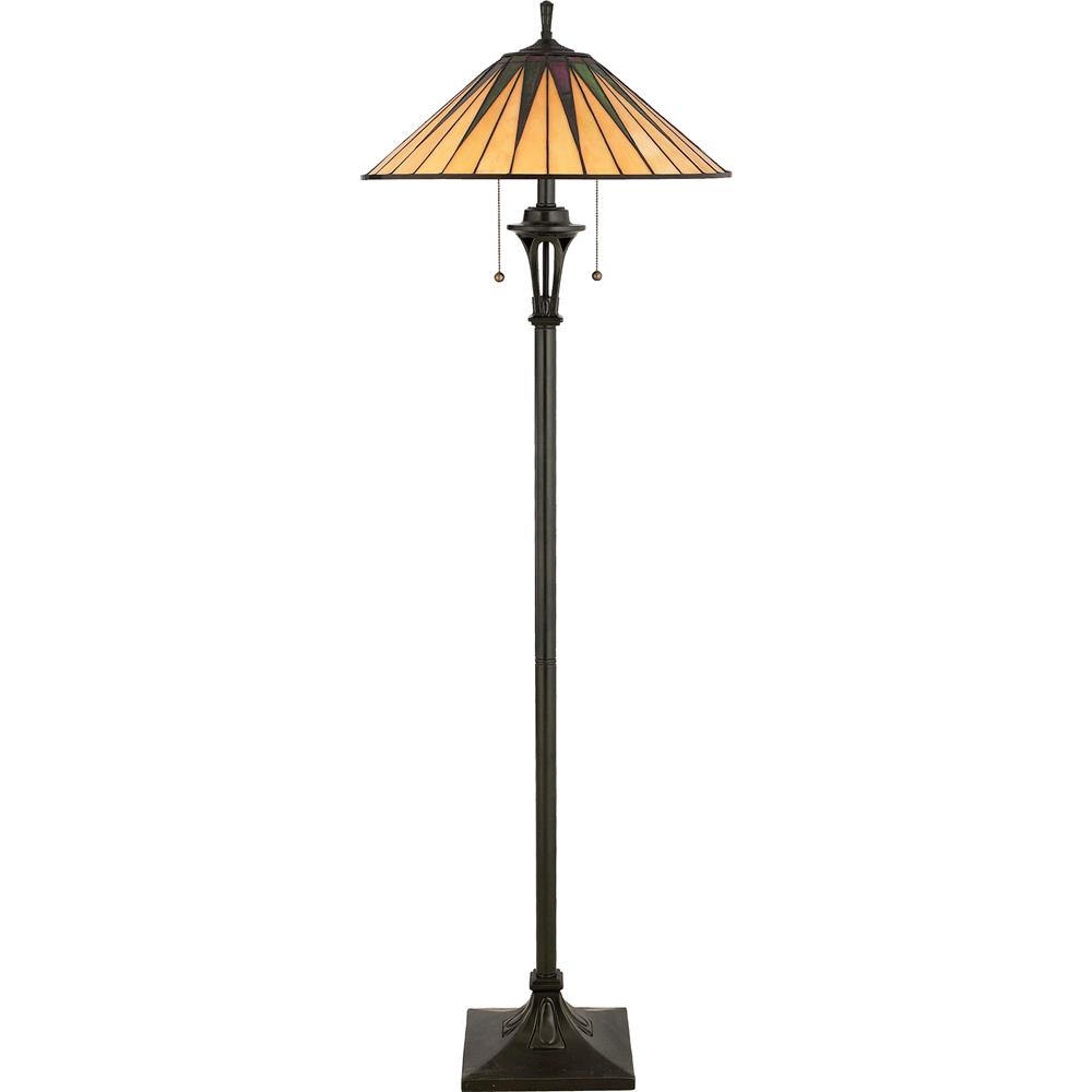 Quoizel Lighting TF9397VB Gotham Tiffany Floor Lamp in Vintage Bronze