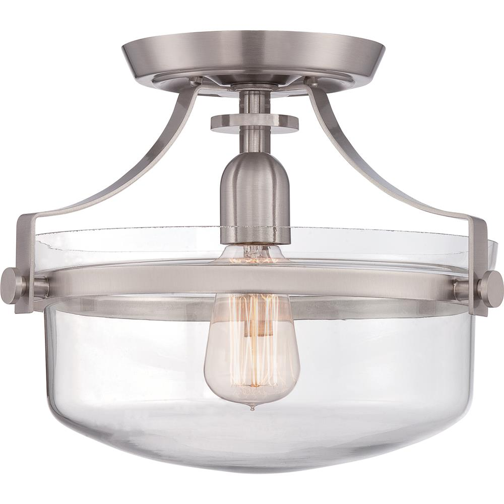 Quoizel Lighting UPPS1713BN Uptown Penn Station 1 Light Semi-Flush Mount in Brushed Nickel