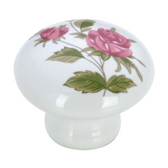 Richelieu Hardware BP33612363 Eclectic Ceramic Knob - 3361 in Pink Flowers