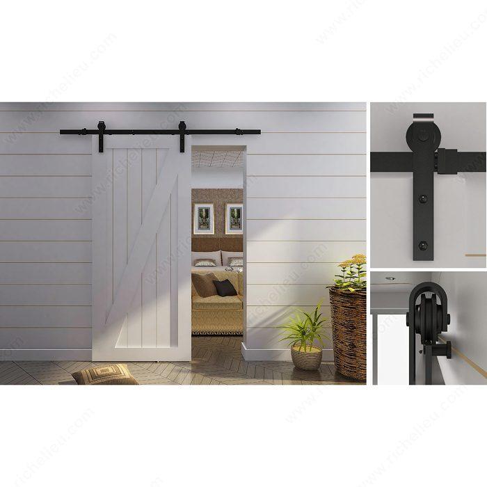 Richelieu 2460302MATPVC Rustic Sliding Door Set For Suspended Wooden Door With Visible Steel Hardware