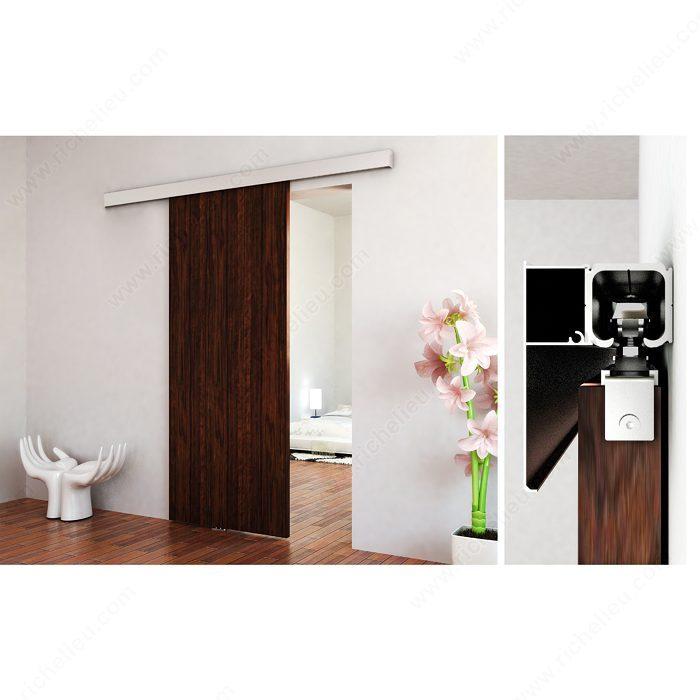 Richelieu 2460402ALPVC Contemporary Sliding Door Set for Suspended Wooden Door (Soft Close Included)