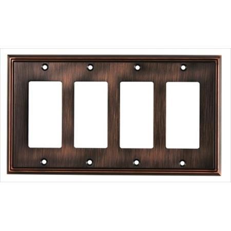 Richelieu Hardware Bp851111Borb Contemporary Decorative Switch Plate 4 Toggle 218X123MM Burnish Oil Rubbed Bronze Finish