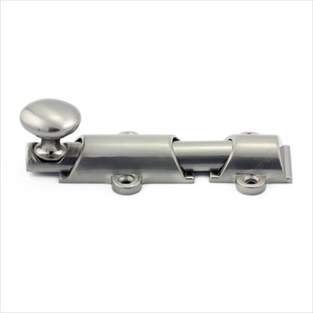 Richelieu Hardware Bp89104195 Classic Metal Surface Bolt 4 Inch Brushed Nickel Finish